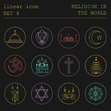 Outline icon set Religion in the world. Flat linear design Royalty Free Stock Photos