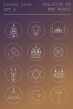 Outline icon set Religion in the world. Flat linear design Royalty Free Stock Photography
