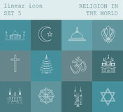 Outline icon set Religion in the world. Flat linear design Stock Photos