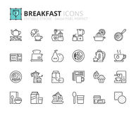 Outline Icons About Breakfast Stock Photography