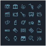 Outline icons - art, entertament, drawning tools. For your design Stock Photo
