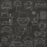 The outline icons about a auto repair and garage Stock Photography