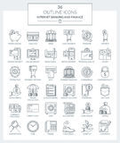 Outline Icons of Banking and Finance. Set of modern filled outline Icons of business, finance, banking and internet banking Royalty Free Stock Photography