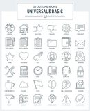 Outline icons of Basic Royalty Free Stock Image