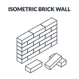 Outline icons of bricks and a brick wall. Vector illustration. Set of outline icons of bricks and a brick wall. Isometric, 3D Stock Images