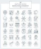 Outline Icons of Business and Finance. Set of modern outline Icons of business, finance, banking and management Royalty Free Stock Photo