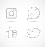 Outline icons of camera, handset, like and bird Royalty Free Stock Images