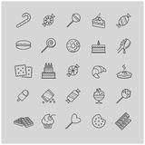 Outline icons - candy, cakes, cookies, sweet, ice cream Stock Photos
