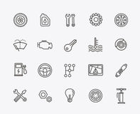 Outline icons. Car parts and services Royalty Free Stock Image