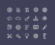 Outline icons. Car parts and services Stock Photo