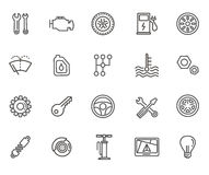 Outline icons. Car parts and services Stock Images