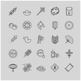 Outline icons - chinese new year, traditional symbols, decorations Royalty Free Stock Image