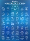 Outline Icons Christmas and New Year Royalty Free Stock Image