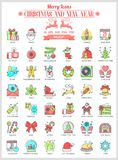 Outline Icons Christmas and New Year Royalty Free Stock Images