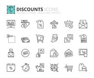 Outline icons about discounts Stock Photography
