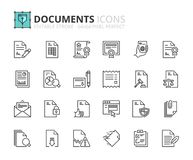 Outline icons about documents Royalty Free Stock Photo