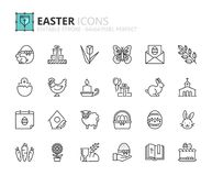 Outline icons about Easter Stock Photography