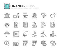 Outline icons about finances. Editable stroke. 64x64 pixel perfect Stock Photos
