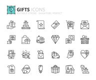 Outline icons about gift Stock Photo
