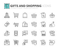 Outline icons about gifts and shopping Stock Image