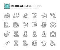 Outline icons about hospital and medical care. Editable stroke. 64x64 pixel perfect royalty free illustration