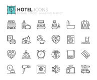Outline icons about hotel. Editable stroke. 64x64 pixel perfect royalty free illustration