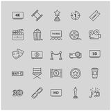 Outline icons - movie, cinema, video. For your design Royalty Free Stock Photography