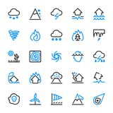 25 outline icons of natural disasters. Risks and dangers, which are taken into account in the insurance of housing Stock Photo