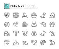 Outline icons about pets and vet. Pet care. Editable stroke. 64x64 pixel perfect vector illustration