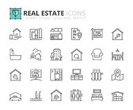 Outline icons about real estate Royalty Free Stock Photos