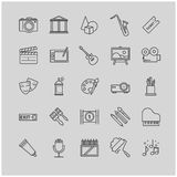 Outline icons set - art, entertament, drawning tools. For your design Royalty Free Stock Images