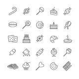 Outline icons set - candy, cakes, cookies, sweet, ice cream Stock Image