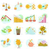 Outline icons set of flat design elements finance objects. Vector pictogram collection design concept. Outline icons set of flat design elements finance objects Royalty Free Stock Photos