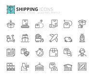Outline icons about shipping Stock Image