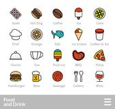 Outline icons thin flat design, modern line stroke style. Web and mobile design element, objects and vector illustration icons set 6 - food and drink Royalty Free Stock Photos