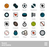 Outline icons thin flat design, modern line stroke style. Web and mobile design element, objects and vector illustration icons set 12 - sport and game Stock Photo