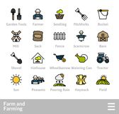 Outline icons thin flat design, modern line stroke style. Web and mobile design element, objects and vector illustration icons set 26 - farm and farming Stock Images