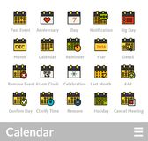 Outline icons thin flat design, modern line stroke style. Web and mobile design element, objects and vector illustration icons set 16 - calendar collection Stock Image