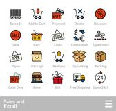 Outline icons thin flat design, modern line stroke style. Web and mobile design element, objects and vector illustration icons set 20 - sales and retail Royalty Free Stock Photos