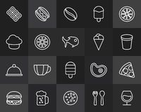 Outline icons thin flat design, modern line stroke. Style, web and mobile design element, objects and vector illustration icons set 6 - food and drink Stock Image