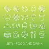 Outline icons thin flat design, modern line stroke. Style, web and mobile design element, objects and vector illustration icons set 6 - food and drink Royalty Free Stock Photography