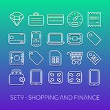 Outline icons thin flat design, modern line stroke. Style, web and mobile design element, objects and vector illustration icons set 9 - shopping and finance Stock Photos