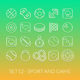 Outline icons thin flat design, modern line stroke. Style, web and mobile design element, objects and vector illustration icons set 12 - sport and game Royalty Free Stock Images