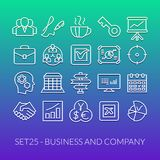 Outline icons thin flat design, modern line stroke. Style, web and mobile design element, objects and vector illustration icons set 25 - business and company Royalty Free Stock Image