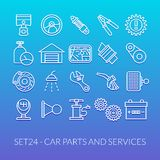 Outline icons thin flat design, modern line stroke. Style, web and mobile design element, objects and vector illustration icons set 24 - car parts and services Stock Image