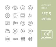 Outline icons thin flat design, modern line stroke Stock Image