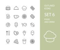 Outline icons thin flat design, modern line stroke. Style, web and mobile design element, objects and vector illustration icons set 6 - food and drink Stock Photography