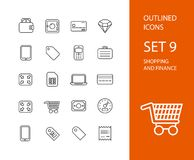 Outline icons thin flat design, modern line stroke Stock Photography