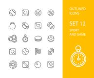 Outline icons thin flat design, modern line stroke. Style, web and mobile design element, objects and vector illustration icons set 12 - sport and game Stock Image