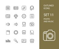 Outline icons thin flat design, modern line stroke. Style, web and mobile design element, objects and vector illustration icons set 11 - audio and photo stock illustration